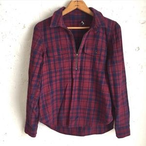 Madewell red blue plaid half zip popover shirt